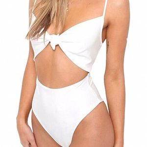 Tie Knot Front High Waisted One-Piece Swimsuit